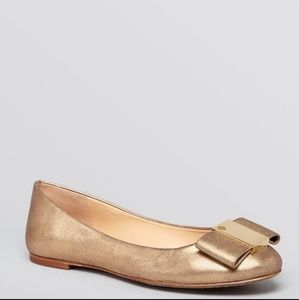 Tory Burch chase ballet bow flats in gold